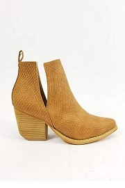 Stacked Heel Low Heel Ankle V-Slit Side Cutout Closed Toe Booties -Whiskey Brown