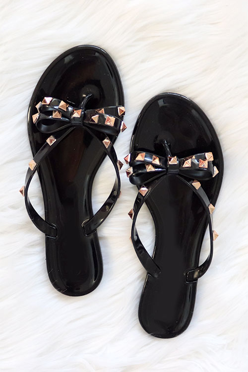 Studded Bow Flip Flops Jelly Sandals-Black