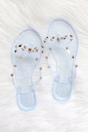 Studded Bow Flip Flops Jelly Sandals-Clear