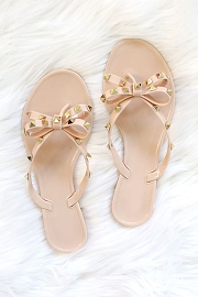 Studded Bow Flip Flops Jelly Sandals-Nude Beige
