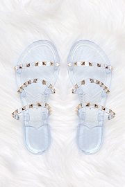 Studded Straps Jelly Flats Sandals-Clear