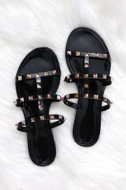 Strappy Studded Flip Flops Jelly Sandals-Black