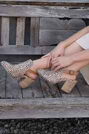 Slingback Closed Toe Booties with Block Heel-Leopard Cheetah Print
