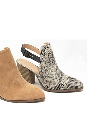 Slingback Closed Toe Booties with Block Heel-Python Snake Print