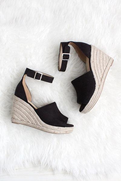 05660951c2e Faux Suede Open Peep Toe Ankle Strap Platform Wedge Espadrille Sandals-Black