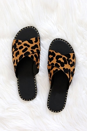 Animal Print X Cross Band Gold Trim Sandals Slides-Leopard Print