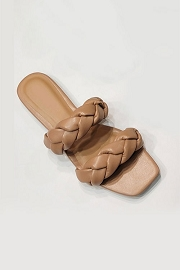 Braided Two Strap Woven Sandals Slides-Camel Brown
