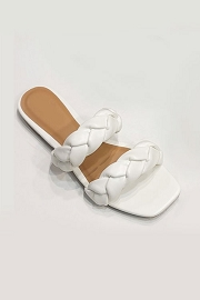 Braided Two Strap Woven Sandals Slides-White