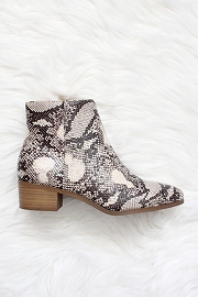 Pointy Closed Toe Booties Flat Block Heel-Snake Python Print