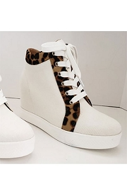 Animal Print Trim Lace Up Wedge Sneakers-White with Leopard Print