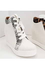 Animal Print Trim Lace Up Wedge Sneakers-White with Snake Skin Print