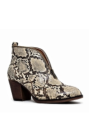 Zipper Trim Boho V-Shaped Faux Leather Ankle Booties-Natural Snake Print