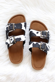 Cow Print Double Strap Buckle Sandals-Black and White