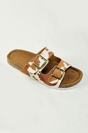 Cow Print Double Strap Buckle Sandals-Brown and White