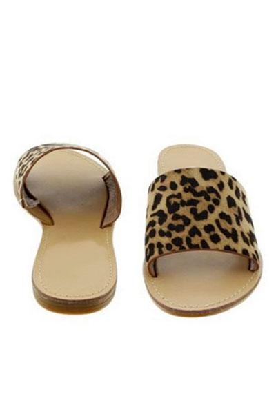 Single Band Animal Print Sandals Slides