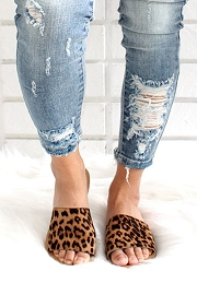 Single Band Animal Print Sandals Slides-Leopard Print