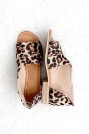 FLASH DEAL! ENDS SOON - Open Toe Faux Suede Side Cutout Flats-Leopard Print (SIZE 5.5, 6, 6.5)
