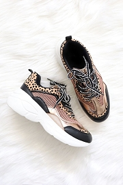 Animal Print Mix Low Top Dad Sneakers-Black & Leopard Print