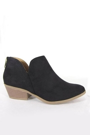 Boho Ankle Cutout Faux Suede Booties with Low Heel-Black
