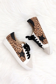 Lace Up Low Top Star Sneakers-Cheetah Leopard Print