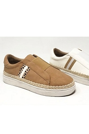 Casual Espadrille Trim Slip on Sneakers-Camel Brown
