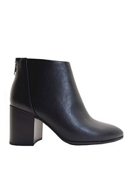 Closed Toe Ankle Booties with Block Heel-Black
