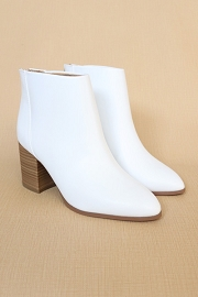 Closed Toe Ankle Booties with Wooden Block Heel-White