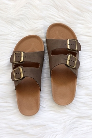 Double Strap Buckle Sandals-Mocha Taupe