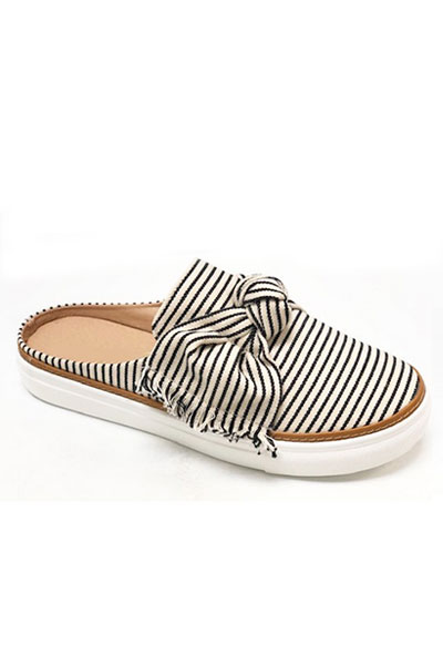 Open Back Pin Strip Bow Casual Slip On