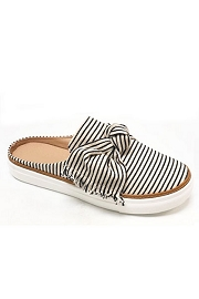 Open Back Pin Strip Bow Casual Slip On Flat Sneakers Shoes-Black & White