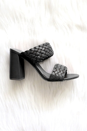 Chunky Braided Woven Heels-Black