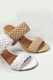 Chunky Braided Woven Heels-Nude Beige