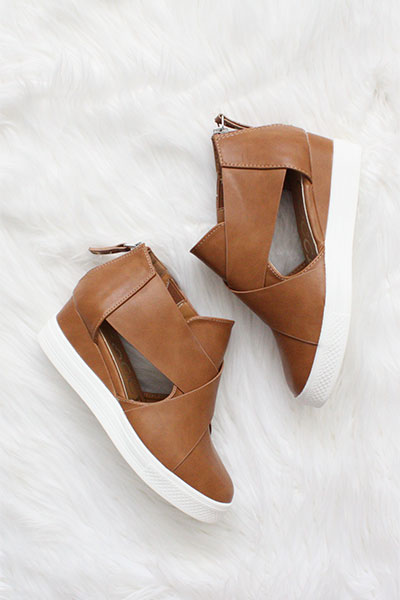 Faux Leather Cutout Wedge Sneakers Brown Tan
