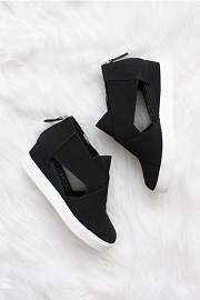 Cutout Wedge Sneakers-Black