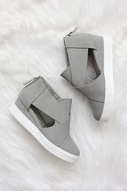 Cutout Wedge Sneakers-Grey