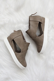 Faux Leather Cutout Wedge Sneakers-Taupe