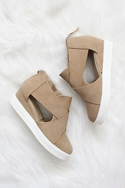 Cutout Wedge Sneakers-Toffee Camel Brown