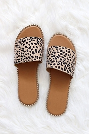 Single Band Gold Trim Sandals Slides-Leopard Print