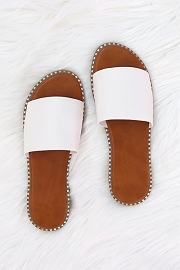 Single Band Gold Trim Sandals Slides-White