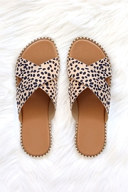 X Cross Band Gold Trim Sandals Slides-Cheetah Leopard