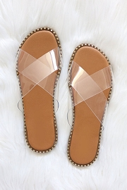 X Cross Band Gold Trim Sandals Slides-Clear
