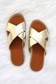 X Cross Band Gold Trim Sandals Slides-Gold