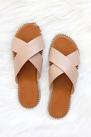 X Cross Band Gold Trim Sandals Slides-Natural Nude