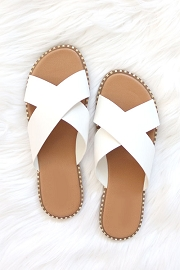 X Cross Band Gold Trim Sandals Slides-White