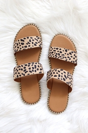 Double Band Gold Trim Sandals Slides-Leopard Print
