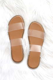 Double Band Gold Trim Sandals Slides-Clear