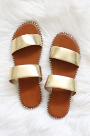 Double Band Gold Trim Sandals Slides-Gold