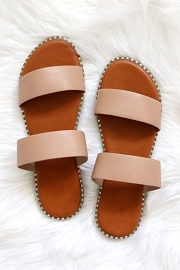 Double Band Gold Trim Sandals Slides-Natural Nude