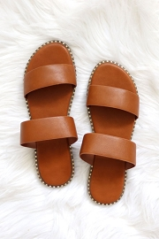 Double Band Gold Trim Sandals Slides-Tan Brown