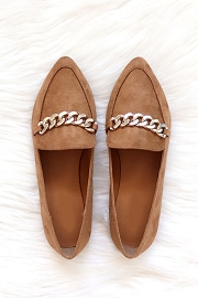 Chain Link Pointy Toe Closed Toe Loafer Flats Shoes-Tan Brown